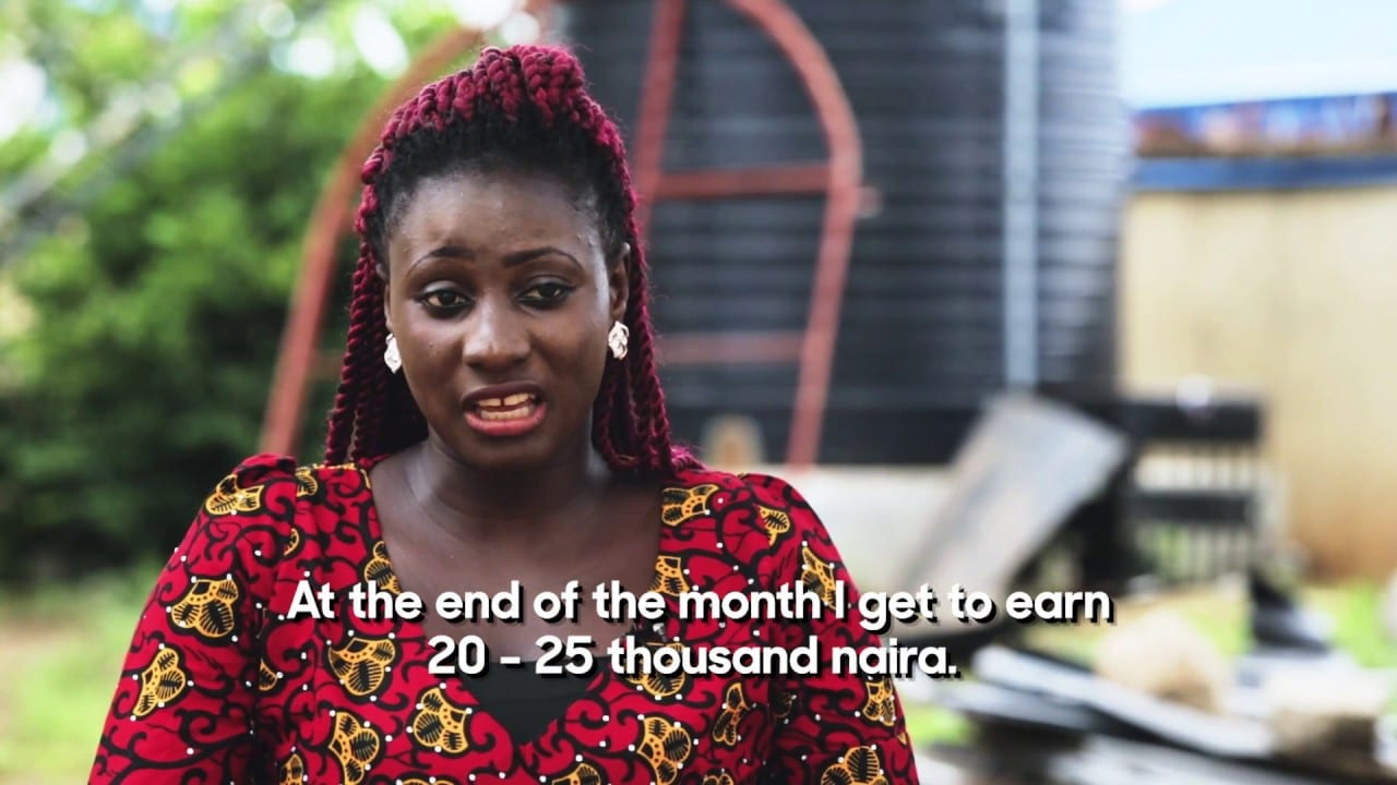 Woman explaining her monthly income