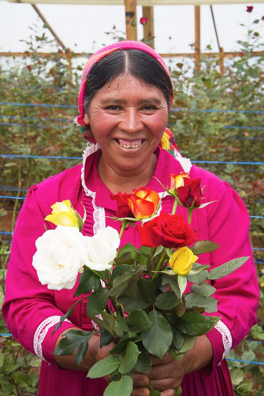 Individual women who benefits off of a new sustainable income while selling carnations