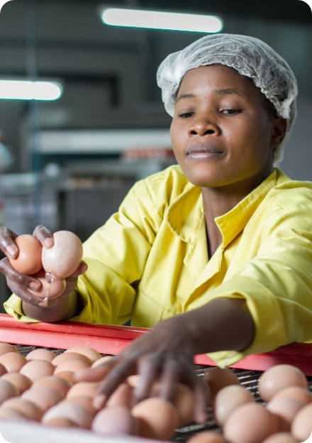 Woman working in a processing facility