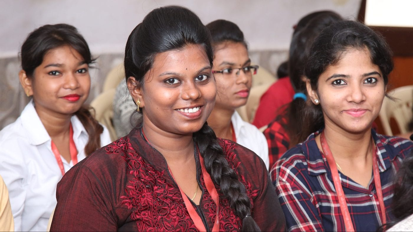 Youth economic opportunity is a positive outcome of TechnoServe programs seen in students like those featured here who participate in TechnoServe youth employability training session in India