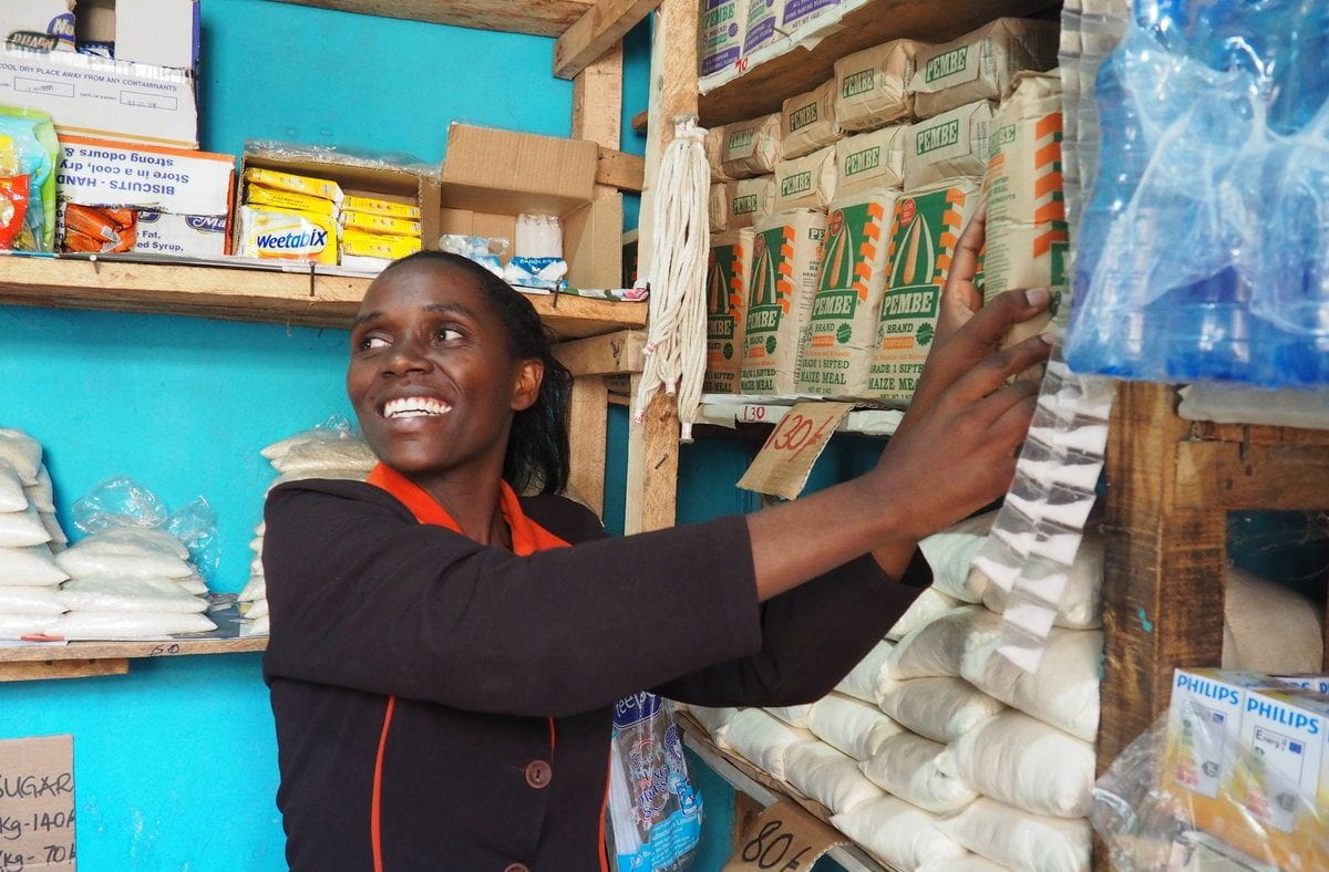 shopkeeper and participant in TechnoServe's Smart Duka program in Kenya
