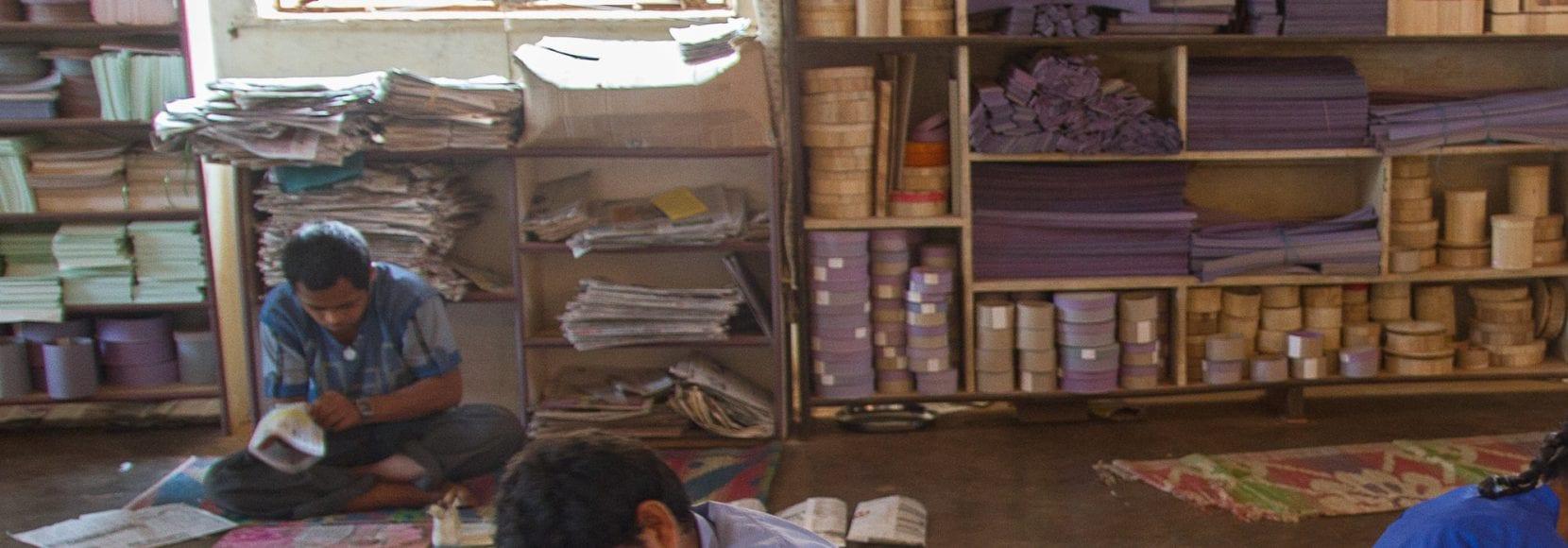 Making paper products at Chetana, Sirsi, North Kanara district, Karnataka state, India. Photo by Nile Sprague, 2013