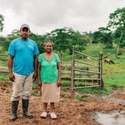 Two people in Nicaragua working on their farm