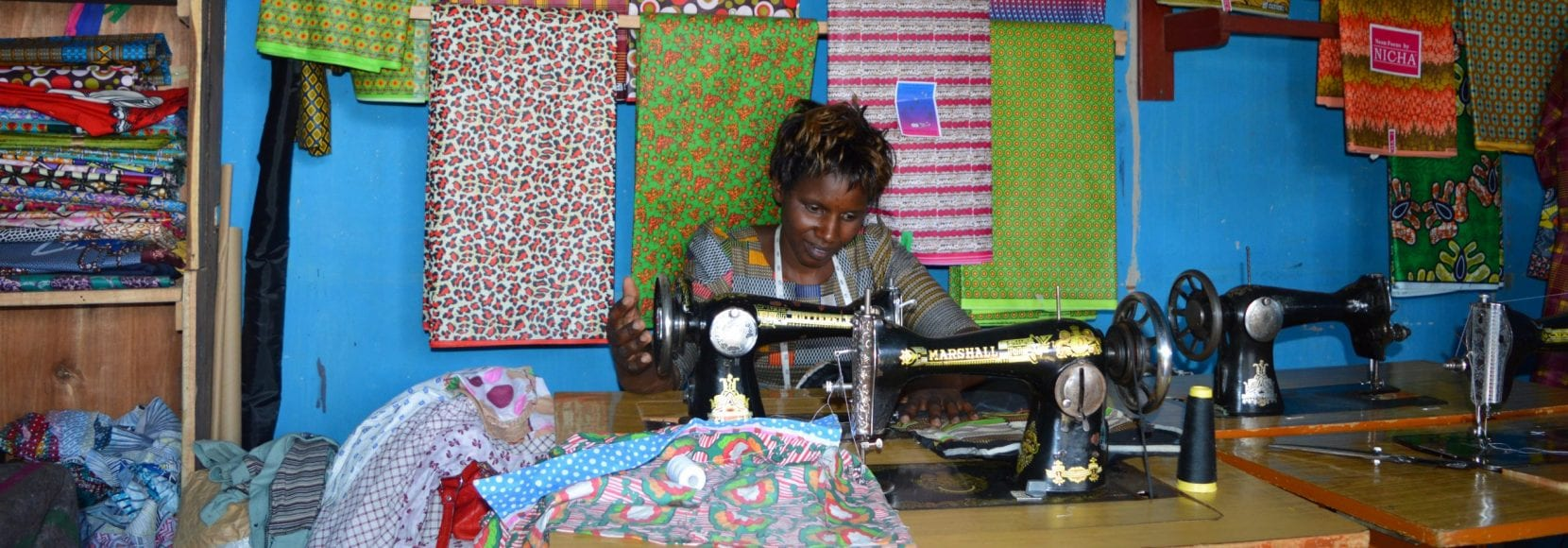 Immaculee Ndagijimana owns a tailor shop in Rwanda's Nyanza district.