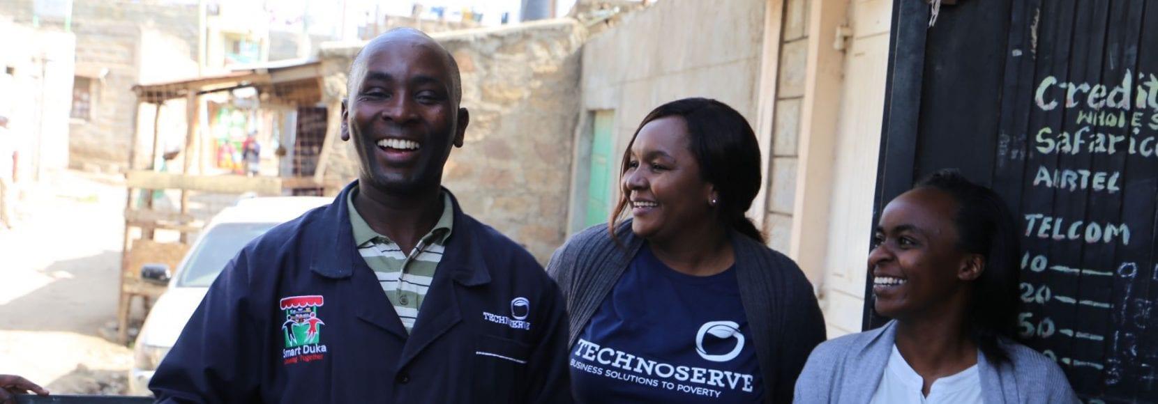 Duka owners smiling in Kenya