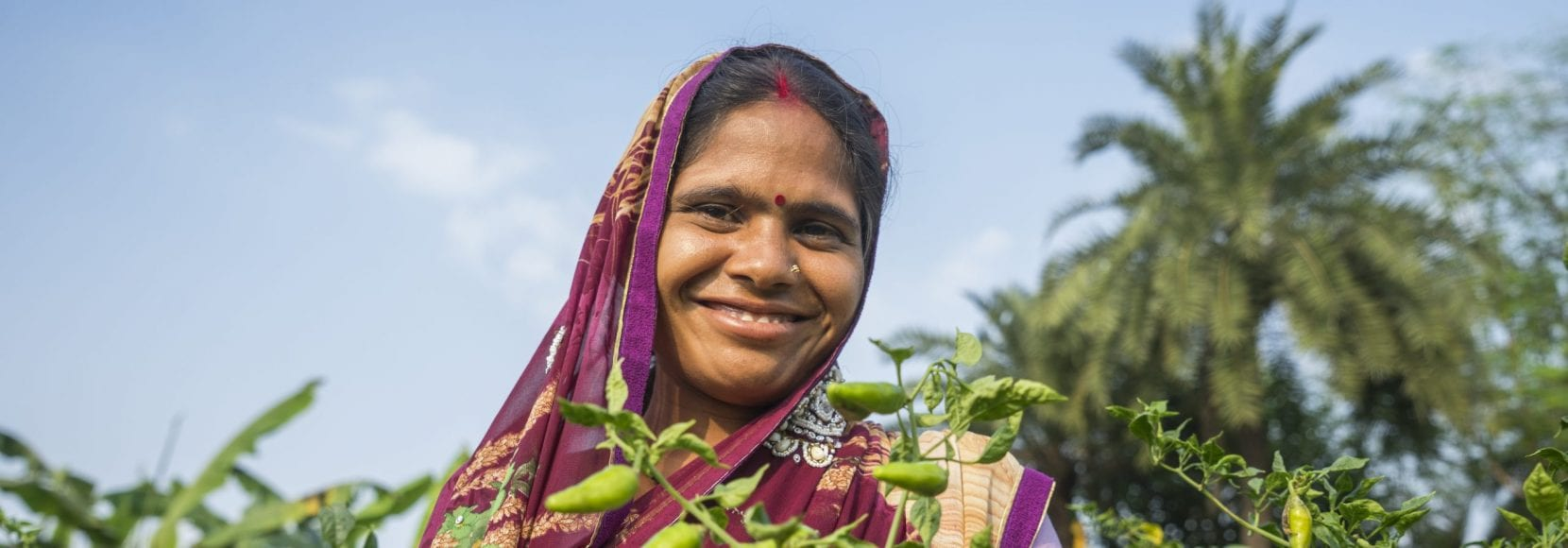 Woman smiling holding plants