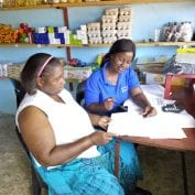 Two women conducting business sin Mozambique
