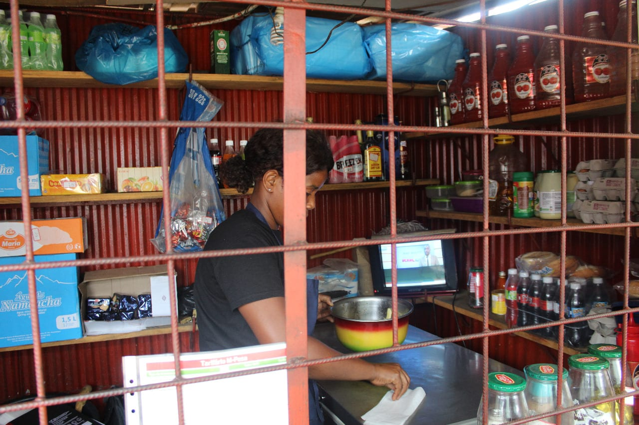 Anabela inside her shop in Maputo