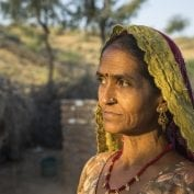 Indian woman staring into the distance