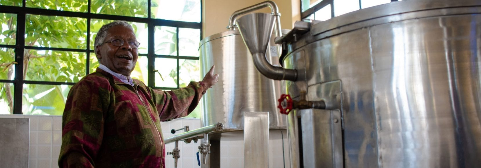 Man processing drinks