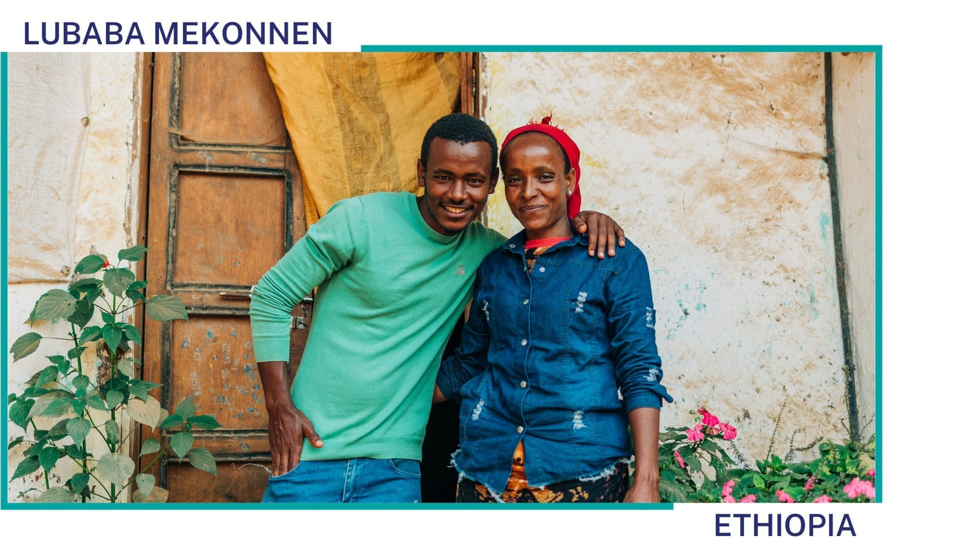 Lubaba Mekonnen stands with her son in front of their house in Ethiopia