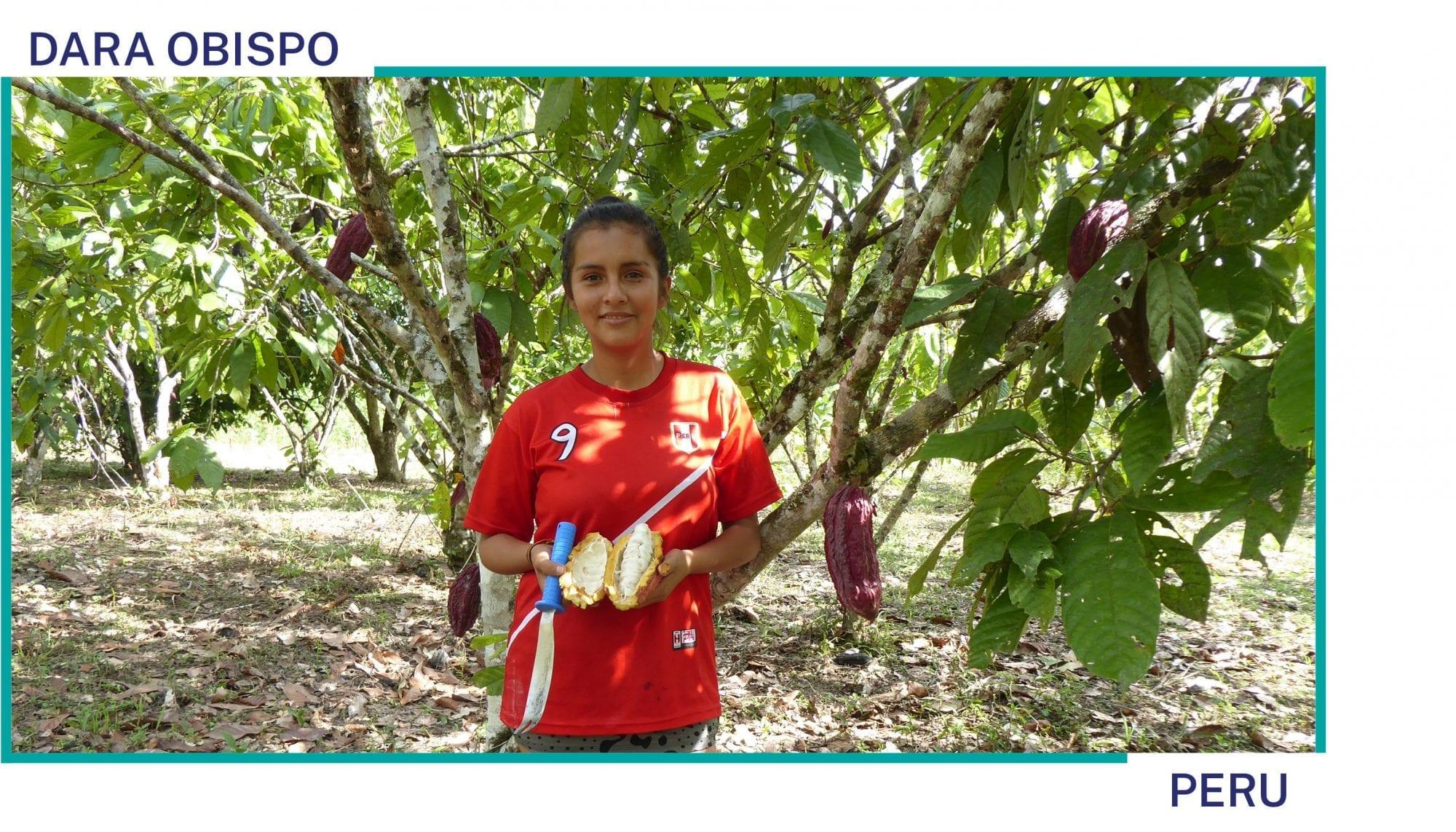 Dara Obispo stands on her cocoa farm in Peru