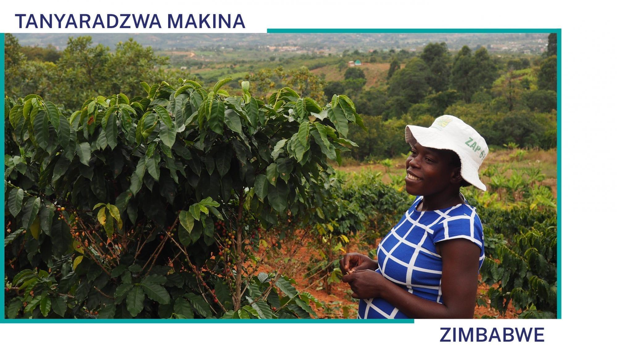 Tanyaradzwa Makina stands on her coffee farm in Zimbabwe