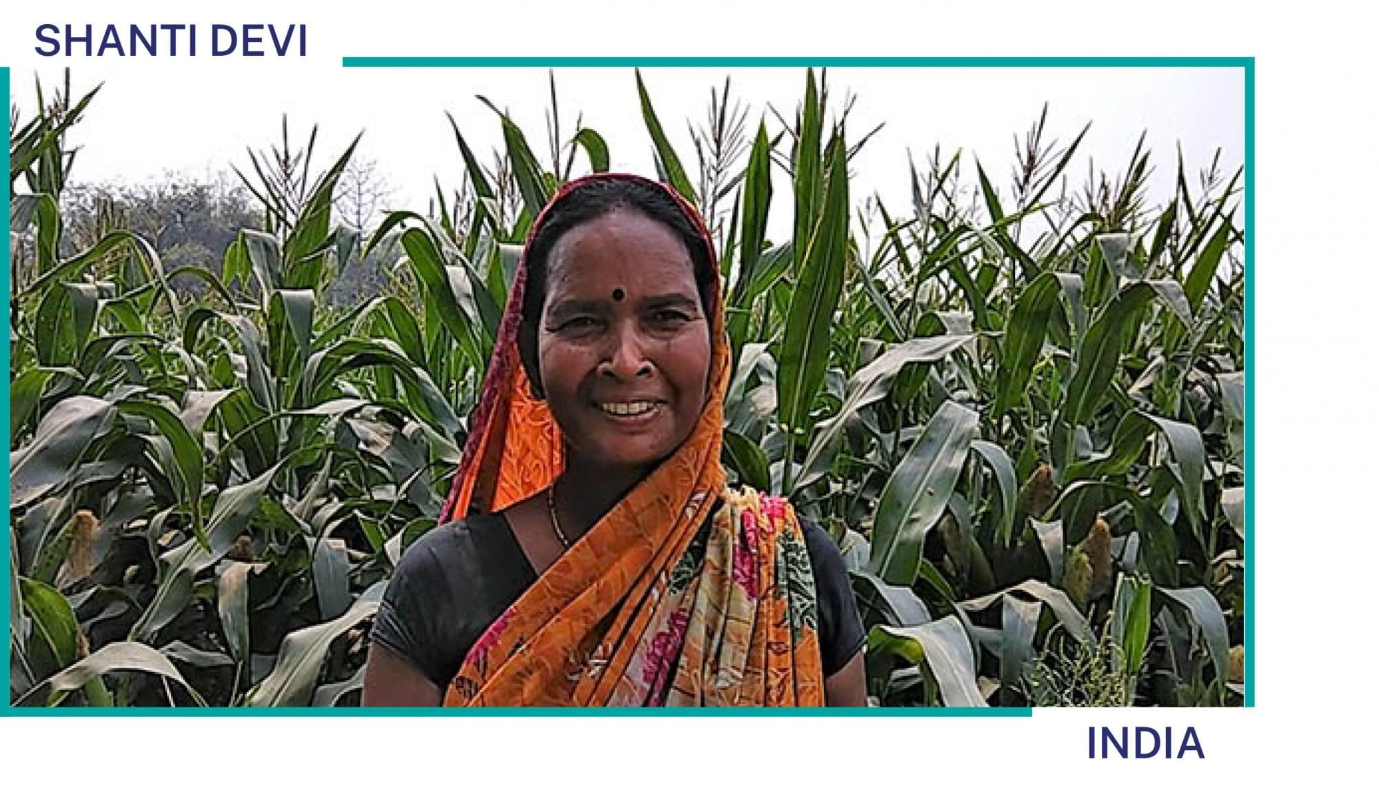 Shanti Devi stands on her farm in India