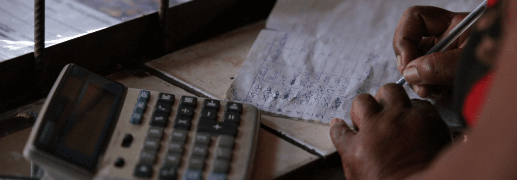 Person calculating business expenses