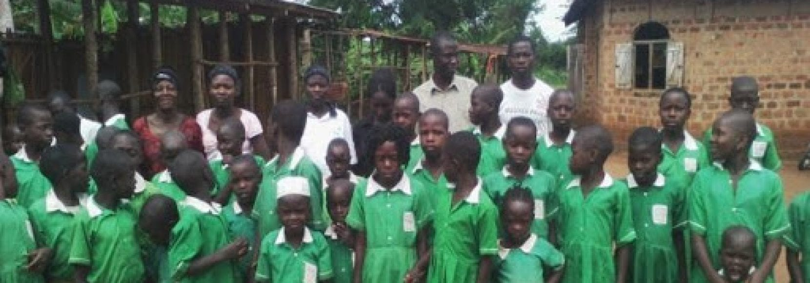 Group of kids and teachers in Uganda