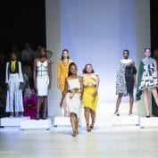 Models on the runway at a fashion show during South Africa Fashion Week 2019