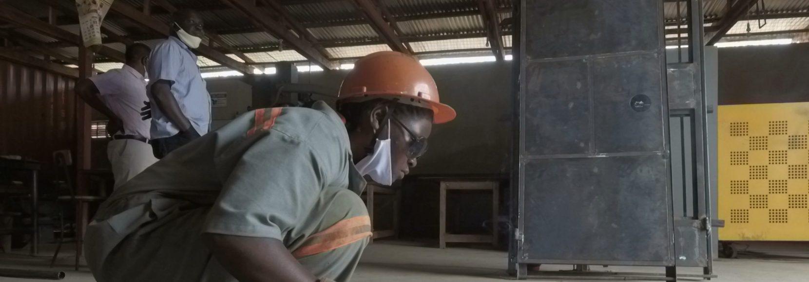 Moureen Nakisozi practices her welding skills outside of Kampala, Uganda
