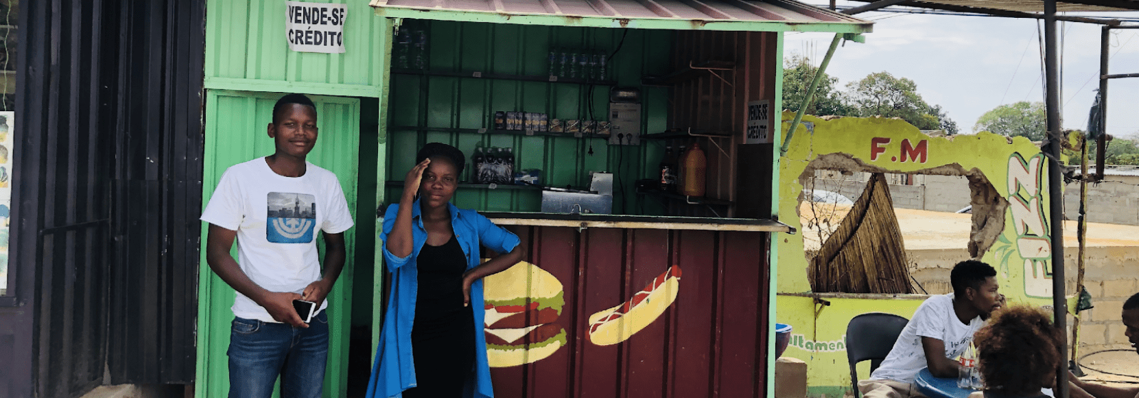 Catarina Bié stands outside her takeaway shop in Maputo, Mozambique