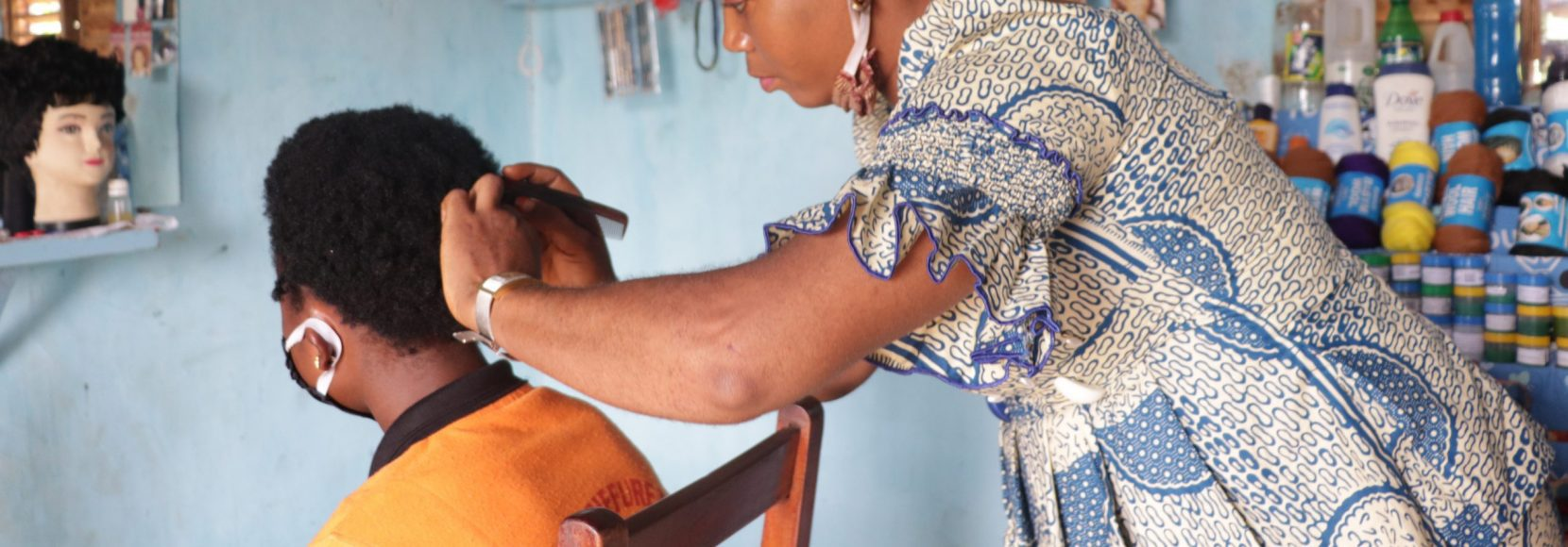Entrepreneur Virginie Adounon owns two hair salons in Bohicon, Benin.