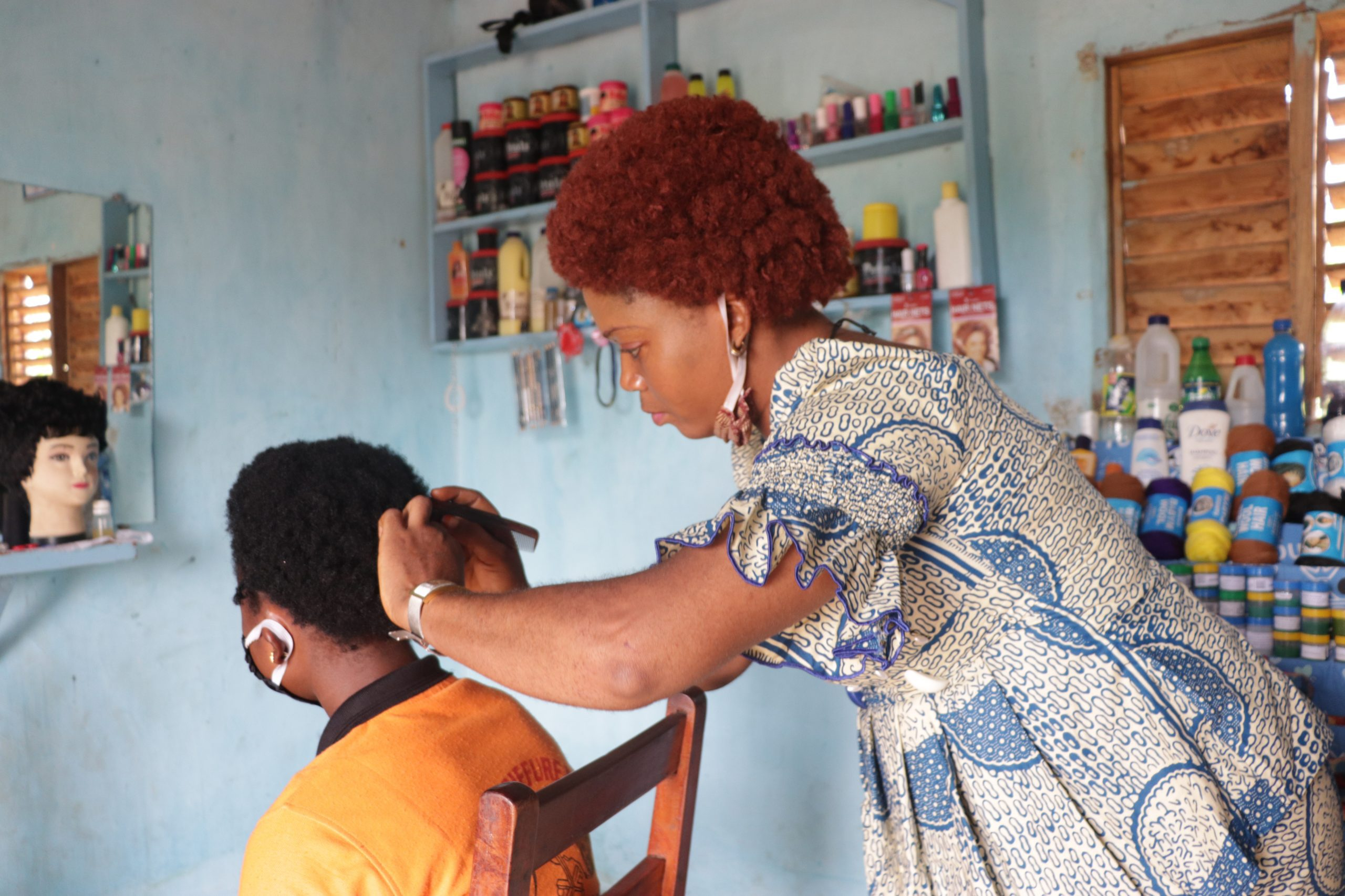 Entrepreneur Virginie Adounon owns two hair salons in Bohicon, Benin.