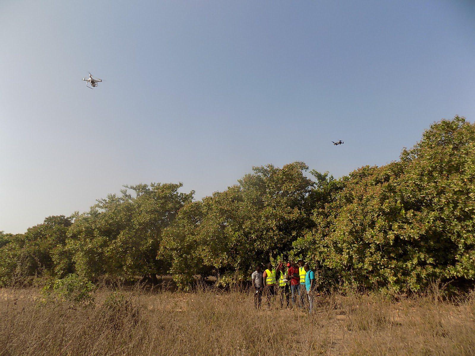 Drones fly over a field in Benin