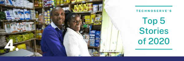 Header graphic for the TechnoServe's top stories #4 , featuring a photograph of two micro-retailers in Kenya standing in their family-owned small business.