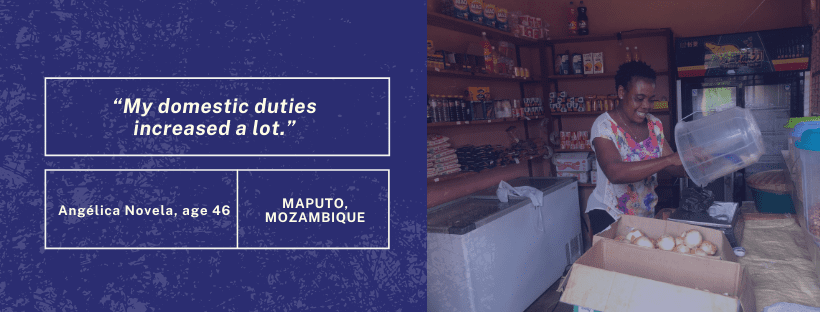 "Graphic with quote on left side that says ""My domestic duties increased a lot."" On the right side there is a photo of a woman at her small shop in Mozambique."