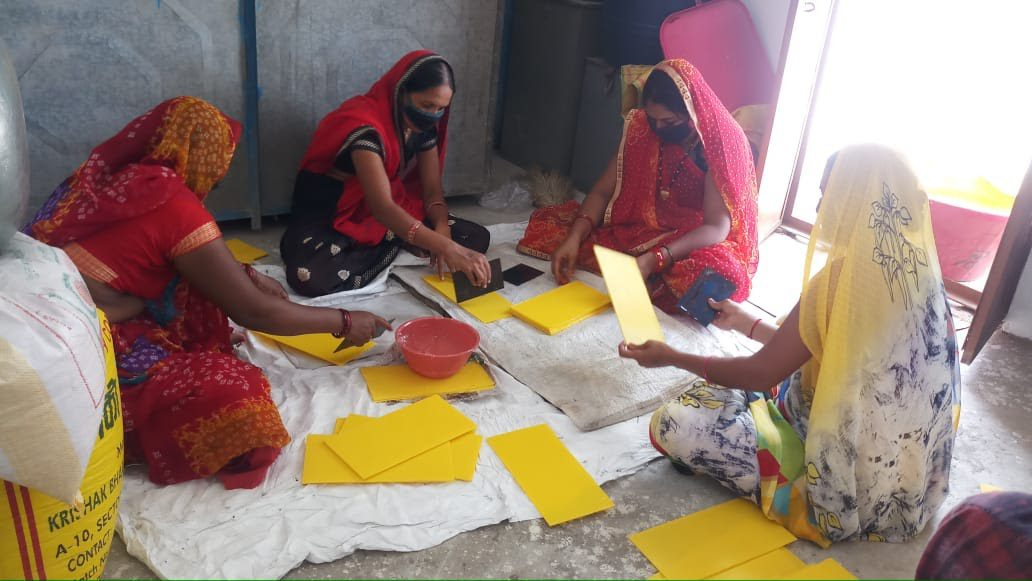 Women entrepreneurs in India create yellow sticky traps as a microenterprise development opportunity.