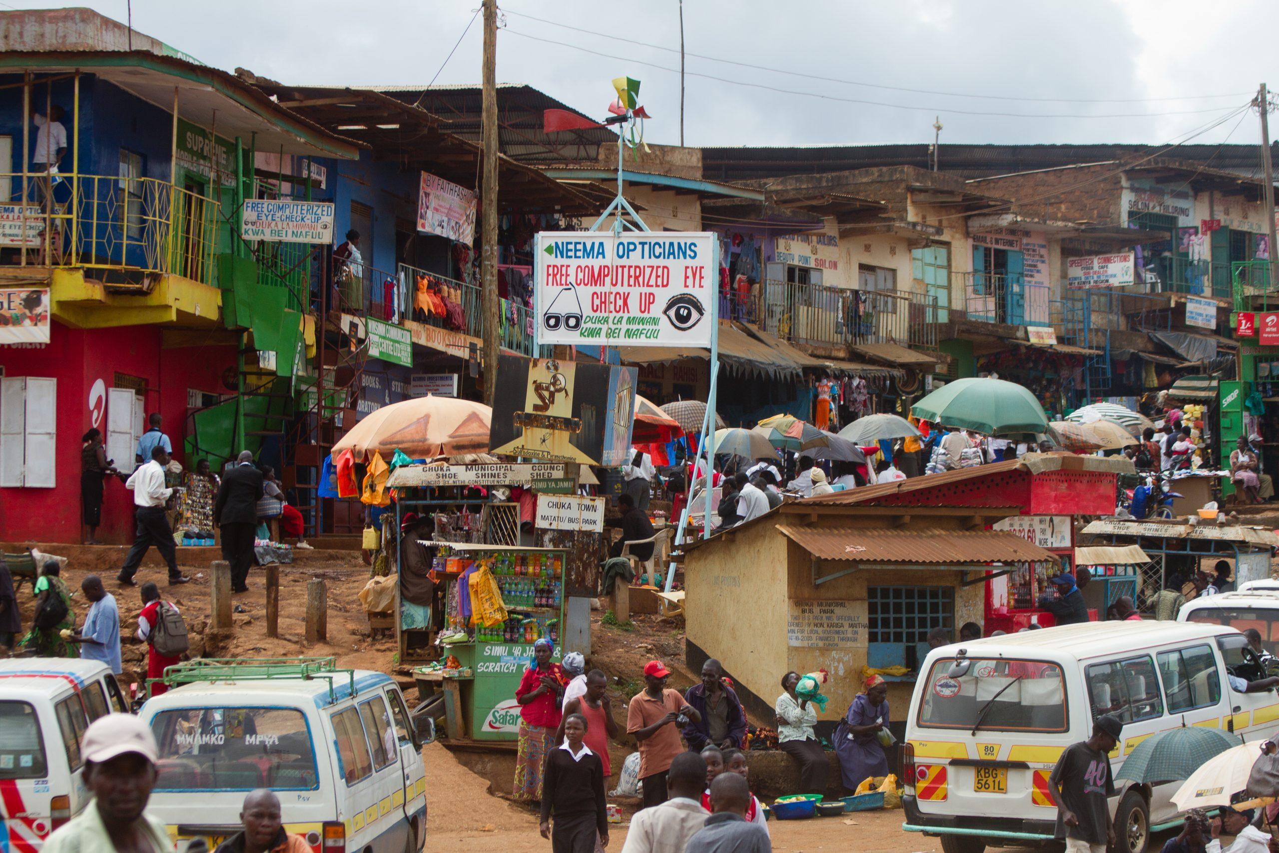 A busy street scene in Nairobi, Kenya