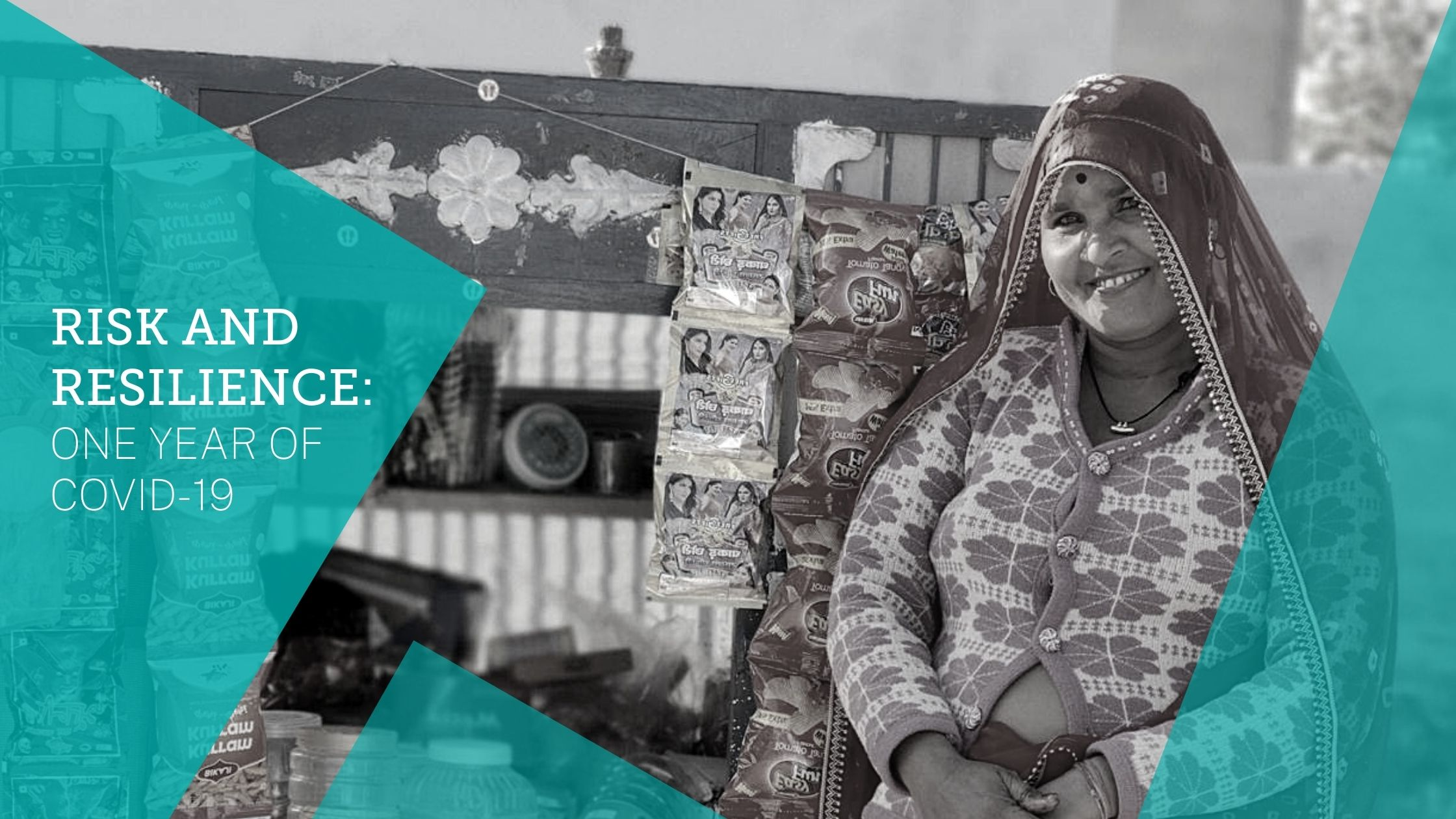 "Decorative graphic reads: ""Risk and Resilience: One Year of COVID-19."" Image of Gomti Devi, a smallholder guar farmer in Bikaner, Rajasthan, India, whose gender-inclusive training from TechnoServe helped her withstand the COVID-19 crisis."
