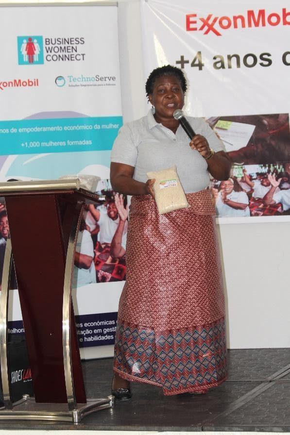 Ester Langa, an entrepreneur in the program, addresses the crowd