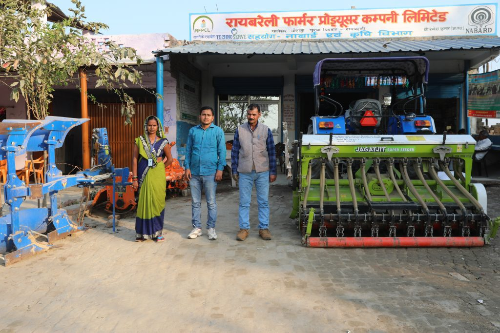 Prema and other FPO directors with a Super Seeder Machine that their company recently purchased for use by the company shareholdersPrema and other FPO directors with a Super Seeder Machine that their company recently purchased for use by the company shareholders