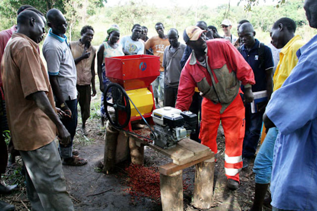 Farmers in South Sudan install coffee pulping equipment