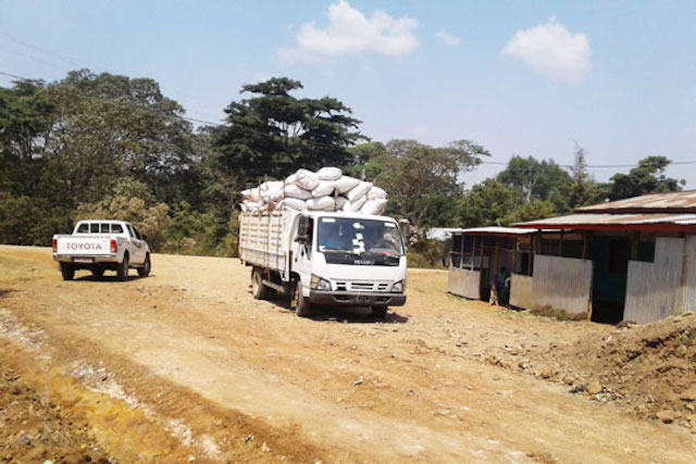 Coffee husk is transported to nearby coffee cooperatives to be used as mulch.