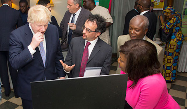 Boris Johnson samples chocolate by ENGINE entrepreneur