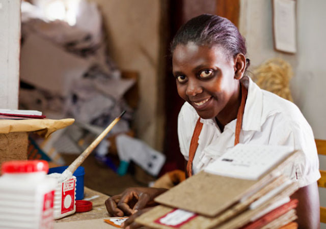 Young women working at Paper Craft Africa in Uganda