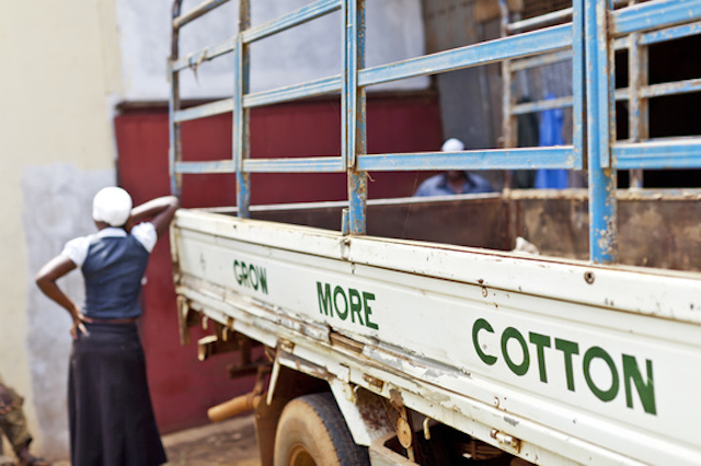 Delivery truck carrying cotton from local farmers in Uganda