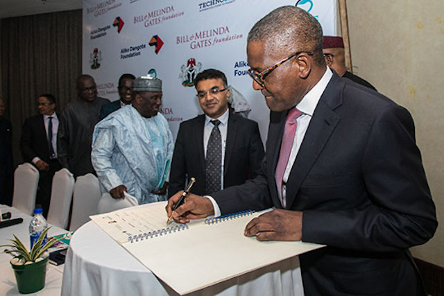 Aliko Dangote signs pledge for food fortification