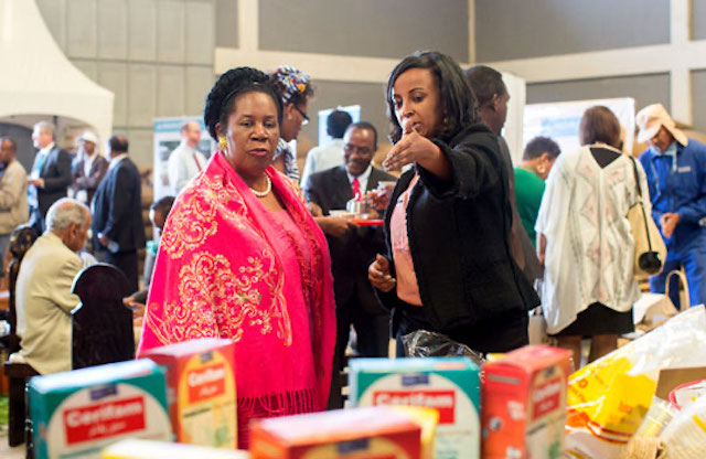 Congresswoman Sheila Jackson Lee (left) and TechnoServe Ethiopia Country Director Mefthe Tadesse at Monday's Feed the Future event in Addis Ababa.