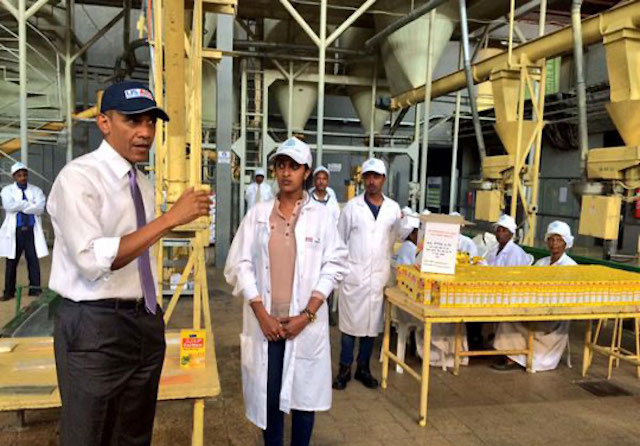 President Obama tours the floor of Faffa Food Share Company, an Ethiopian food processing company that receives technical support from TechnoServe.