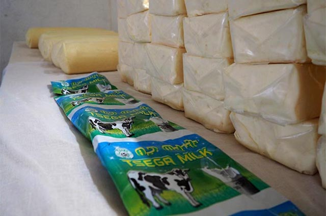 Hirut Yohannes Darare's dairy produce packaging