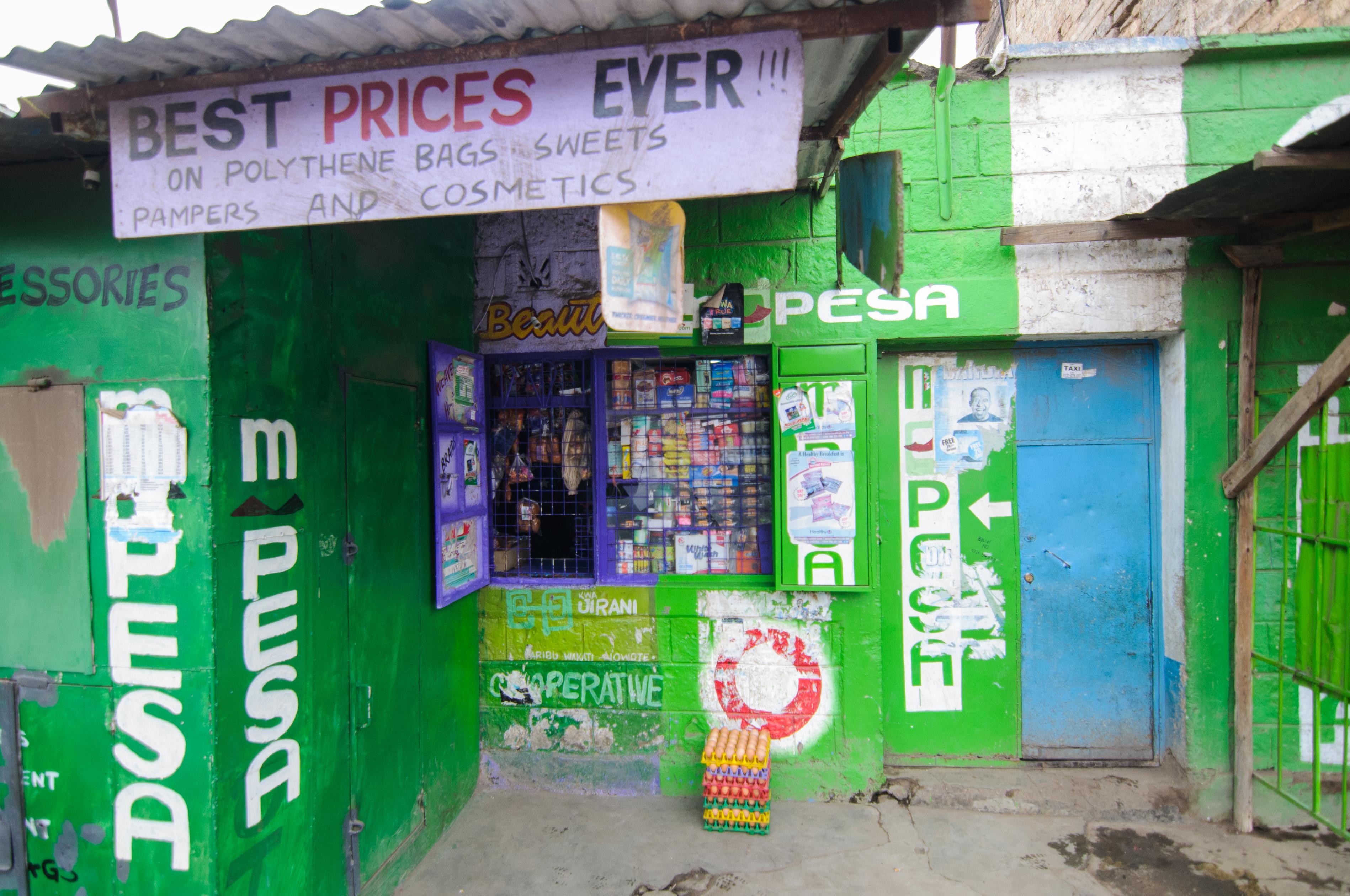 View from outside Cosmas Mwangi's shop