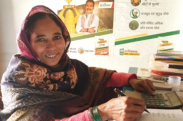 female maize collective leader in Bihar, India