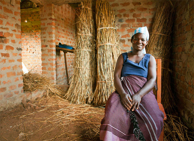 Ugandan farmer living in her house funded by selling cotton