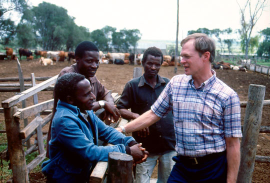 TechnoServe founder Ed Bullard standing on a Kenyan cattle ranch